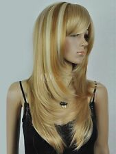LMJF96 fine long golden blonde mixed straight natural hair wig wigs for women