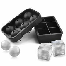 Tient Silicone Ice Cube Trays (Set of 2), Sphere Ice Ball Maker with Lid &...