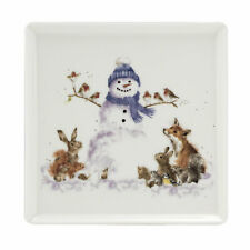 Royal Worcester Wrendale Snowman Square Plate Gathered Around - 18cm/7 inches