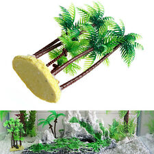 Yellow Beach & Palm Tree Plastic Plant Aquarium Ornament Fish Tank Decoration h