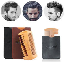 Size Wooden Beard Comb Fine Coarse Teeth Hair Mustaches Brush Double Side