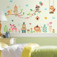 Forest Zoo Jungle Wild Animals Wall Sticker Decal Mural Kids Room Home Decor DIY