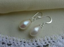 My S Collection 925 Sterling Silver White Fresh Water Pearl Drop Earrings