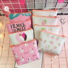 Clutch PU Leather Coin Purse Flamingo Strawberry Zip Bag Mini Wallet