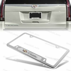 1PCS For CADILLAC Silver Metal Stainless Steel License Plate Frame NEW