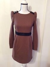 Escort in Style Urban & Chic DRESS Heavy Brown Wool ? Black sueded accent size M