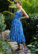 RHODE RESORT Lea Floral Printed Cotton Voile Pleated Blue Midi Dress L Nw 206184