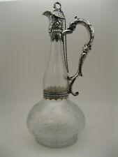 RARE 1892 Gorham Sterling Silver & Etched Crystal Claret Wine Jug / Decanter
