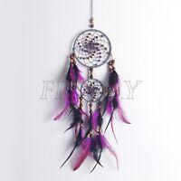 Dream Catcher Black/Purple Wall Car Hanging Decoration Bead Ornament Feathers