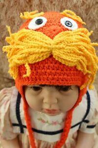 Handmade Knit Crochet Newborn Baby Child Kids Hat Beanie The Lorax Hat Beanie