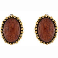 Clip - On Amber Stone Costume Earrings