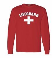 Life Guard Long Sleeve Shirts Lifeguard Red White Tee Beach Safety Pool Staff