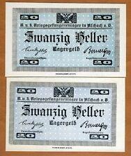 Austria, 20 Heller, POW, WWI, Campbell C1314, aUNC