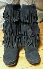 MINNETONKA  LADIES SZ 9,  BLACK SUEDE, 3-LAYER FRINGE, MOCCASIN BOOT, #1639