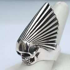 New KING BABY STUDIO Men's Sterling Silver Skull Chief Ring Size 9 NWOT