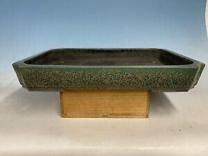 "Massive Green  Glazed Tokoname Bonsai Tree Pot Koyo 21 1/8"""