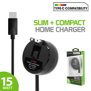 High Powered 3Amp /15Watt USB Type-C Retractable Home Charger for USB-C Devices