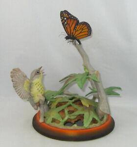 "Boehm Porcelain Bird Sculpture ""FLEDGLING CANADA WARBLER WITH BUTTERFLY"" 491"