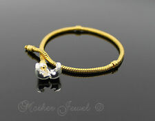 19cm Yellow Gold & Silver Plated Snap Clasp European Bead Bracelet 7.5 inches