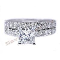 1.52 Ct. Princess Diamond Engagement Bridal Set 14k White Gold Size Selectable