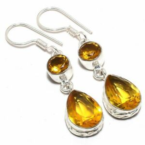"Citrine  Gemstone Handmade Ethnic Silver Jewelry Earring 2.0"" RJ3561"