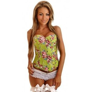 Daisy Lime Floral Strapless Corset