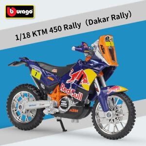 Bburago 1:18 Scale KTM 450 Dakar Rally Red Bull No.1 Motorcycle Diecast Model