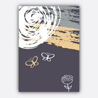 Art Print Abstract FLORAL collection PURPLE YELLOW & GREY Poster Wall 3 for 2