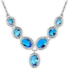 Lake Blue Crystal Oval Silver Plated Statement Necklace