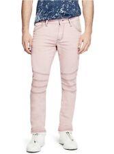 G By Guess Men's Pastel Moto Modern Skinny Stretch Jeans Light Pink Size 32X32