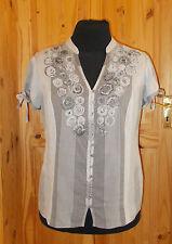 PER UNA grey striped floral gypsy boho short sleeve blouse shirt top tunic 16 44