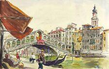 Venezia/VENEZIA-PONTE RIALTO-Hans Mau-Acquerello & inchiostro di china 1935