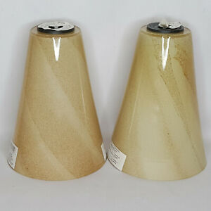 2 NEW Glass Pendant Light Shades Mojave Sand Brown Cone Shape #0351048