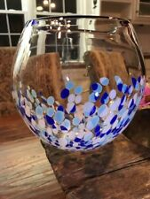 "Italian Fish Bowl Glass Fish Container Center Piece Betta Tank Home Office 7"" T"