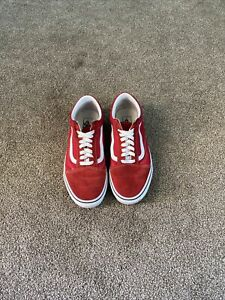 Vans Old Skool Red White Low Canvas Classic Skate Shoes Men Size 9.5