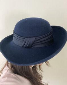 Laura Ashley Ladies 100% Wool Navy Blue Wide Brim Satin Trim Hat