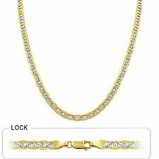 """5 mm 20"""" 17.50gm 14k Gold Two Tone Men's White Pave Flat Mariner Chain Necklace"""
