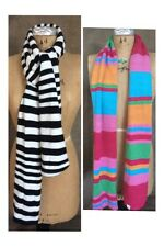 LITTLE MISS MATCHED Striped REVERSIBLE WINTER SCARF Black & White BRIGHT COLORS
