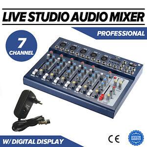 7-Kanal Digital Mic Line Audio Mixer Mischpult 48V Phantomspeisung 3 Band EQ