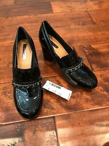"Tahari Black ""Loren"" Patent Leather Block Heels W/ Chain Detail, Size 6"