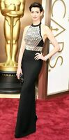 GUCCI Crystal Embroidered Embellished Black Long Maxi Dress Gown US 6 / IT 42
