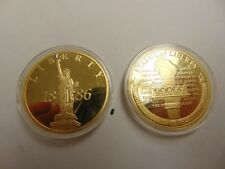 CHALLENGE COIN TOKEN GOLD COLOR STATUE LIBERTY 1886 LIGHTING THE PATH TO FREEDOM