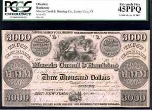 Morris Canal & Banking Co. NJ $3000 Obsolete Banknote 45PPQ PCGS 80370629