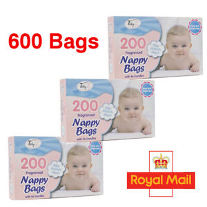 600 Disposable Nappy Bags Fragranced Baby Diaper Hygienic Sacks Tie Handle Bags