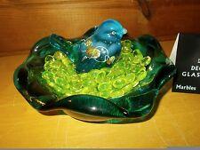 Vintage Fenton Hand Painted Blue Bird on Blue Fenton Nest Plate and Gems