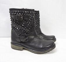 Steve Madden Marcoo Black Leather Ankle Stud Motorcycle Biker Punk Boots Women 6
