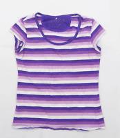 Reserved Womens Size M Striped Cotton Blend Purple T-Shirt (Regular)
