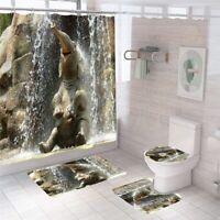 Elephant Bathroom Rug Set Shower Curtain Thick NonSlip Toilet Lid Cover Bath Mat