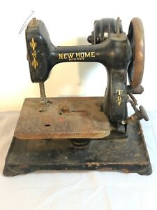 Antique New Home Midget Sewing Machine - Hand Crank w/Motor FOR RESTORE
