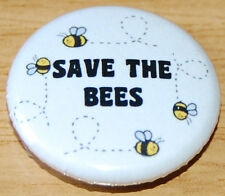 """""""SAVE THE BEES"""" 25MM / 1INCH BUTTON BADGE ECO GREEN HONEY INSECT BEE-KEEPING"""